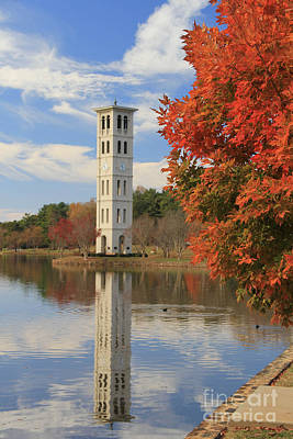 Bell Tower In Fall Poster by John Roy