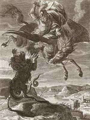 Bellerophon Fights The Chimaera, 1731 Poster by Bernard Picart
