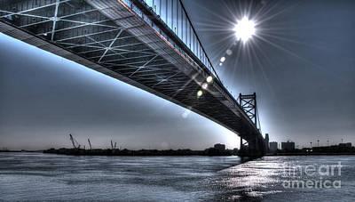 Ben Franklin Bridge Under The Sun Poster by Mark Ayzenberg