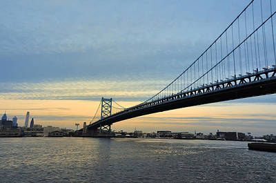 Benjamin Franklin Bridge At Sunset Poster by Bill Cannon