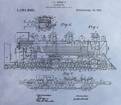 Bennett Locomotive Patent Poster by Dan Sproul