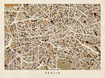 Berlin Germany Street Map Poster by Michael Tompsett