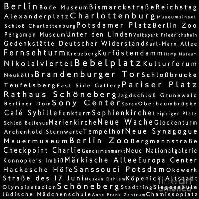 Berlin In Words Black Poster by Sabine Jacobs