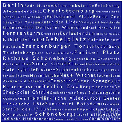 Berlin In Words Blue Poster by Sabine Jacobs
