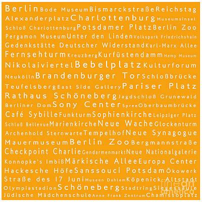 Berlin In Words Orange Poster by Sabine Jacobs