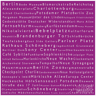 Berlin In Words Pink Poster by Sabine Jacobs