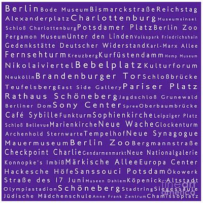Berlin In Words Purple Poster by Sabine Jacobs