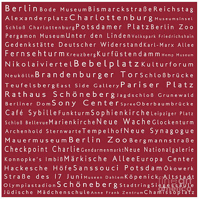 Berlin In Words Red Poster by Sabine Jacobs