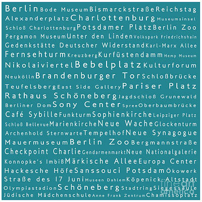 Berlin In Words Teal Poster by Sabine Jacobs