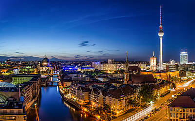 Berlin Skyline At Blue Hour 1 Poster by Jean Claude Castor