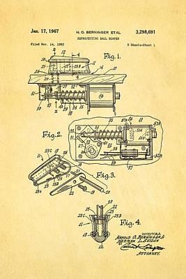 Berninger Reprojecting Ball Bumper Patent Art 1967 Poster by Ian Monk