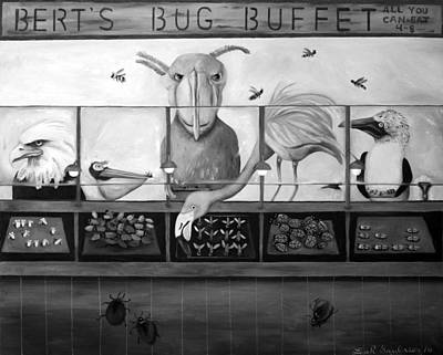 Bert's Bug Buffet Bw Poster by Leah Saulnier The Painting Maniac