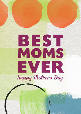 Best Moms Card- Two Moms Greeting Card Poster by Linda Woods