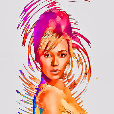 Beyonce Splash Of Color By Gbs Poster by Anibal Diaz