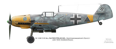 Bf 109e-7/b  Maj. Alfred Druschel Gruppenkommandeur I./sch.g.1 June 1942. Charkow-rogan Poster by Vladimir Kamsky