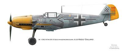 Bf 109e W.nr.5819 Geschwaderkommodore Jg 26 Adolf Galland Poster by Vladimir Kamsky