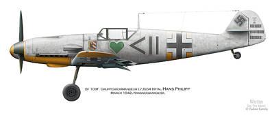 Bf 109f Gruppenkommandeur I./jg54 Hptm. Hans Philipp. March 1942. Krasnogwardeisk Poster by Vladimir Kamsky