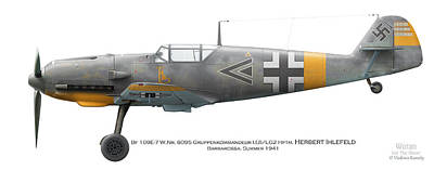 Bf109e-7 W.nr. 6095 Gruppenkommandeur I./lg2 Hptm. Herbert Ihlefeld. Barbarossa. 1941 Poster by Vladimir Kamsky