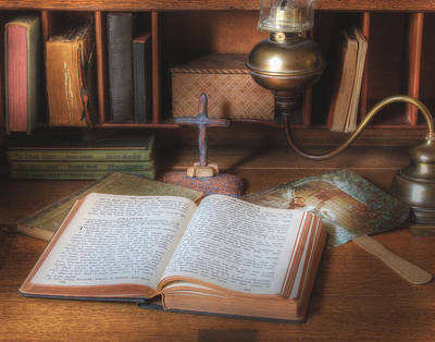 Bible Study By Oil Lamp Poster by David and Carol Kelly