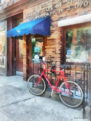 Hoboken Nj - Bicycle By Post Office Poster by Susan Savad