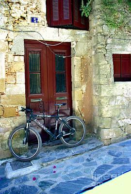 Bicycle Of Santorini Poster by Madeline Ellis
