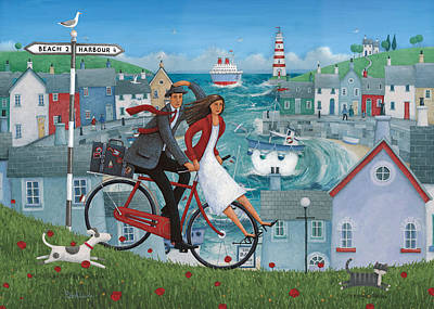 Bicycle Seascape Poster by Peter Adderley