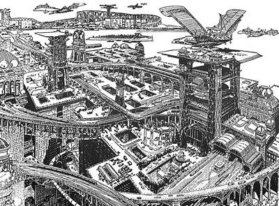 Biederman Futuristic City Poster by Granger