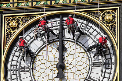 Big Ben Clock Face Cleaning Poster by Mark Thomas