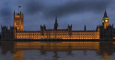Big Ben Parliament London Digital Painting Poster by Matthew Gibson