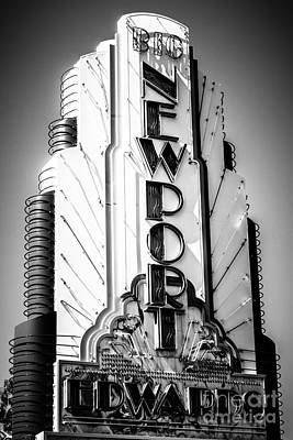 Big Newport Edwards Theater Marquee In Newport Beach Poster by Paul Velgos