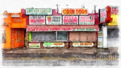 Big Steve's Italian Sausage Hampton Beach Boardwalk Poster by Edward Fielding