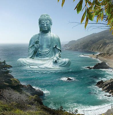 Big Sur Tea Garden Buddha Poster by Alixandra Mullins