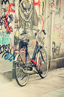 Bike At Graffiti Wall. Trash Sketches From The Amsterdam Streets Poster by Jenny Rainbow