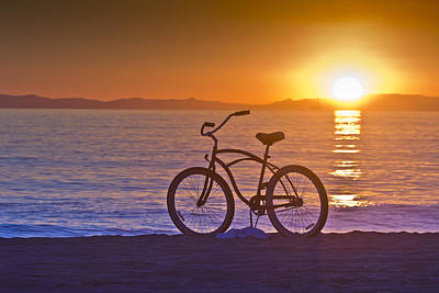 Bike At Sunset In Newport Beach Poster by Harald Vaagan
