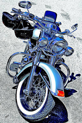 Bike In Blue For Two Poster by Ben and Raisa Gertsberg