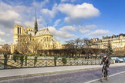Bike Road Over The Seine - Notre Dame De Paris Poster by Mark E Tisdale