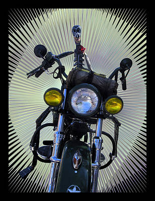 Biker From The Past Poster by Kurt Van Wagner