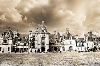 Biltmore Mansion Estate Architecture - Biltmore Estate Mansion Asheville North Carolina Poster by Kathy Fornal