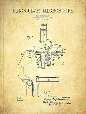 Binocular Microscope Patent Drawing From 1931-vintage Poster by Aged Pixel