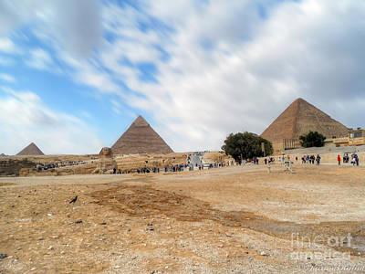 Bird Sphinx And Pyramids Poster by Karam Halim
