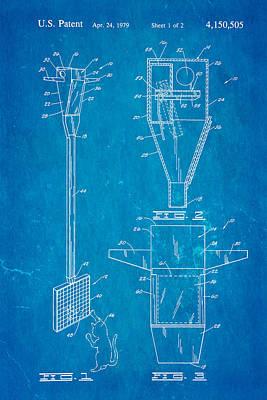 Bird Trap Cat Feeder Patent Art 1979 Blueprint Poster by Ian Monk