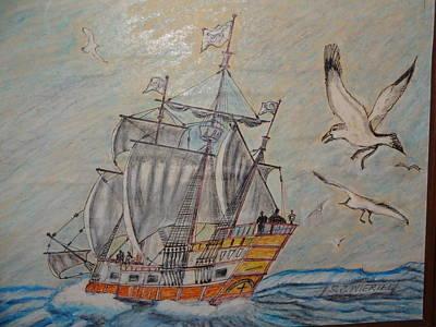 Birds At Sea Poster by Stanley Wiertel