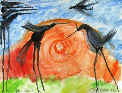 Birds In The Sun. A Black Bird Study 2013 Poster by Cathy Peterson