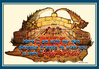 Birthday Card Dinosaur Friends Poster by Michael Shone SR