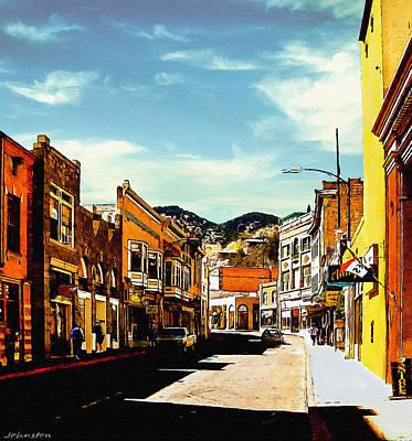 Bisbee Arizona Painting Poster by Bob and Nadine Johnston