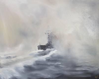 Bismarck Evades Her Pursuers Poster by Vincent Alexander Booth