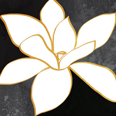 Black And Gold Magnolia- Floral Art Poster by Linda Woods