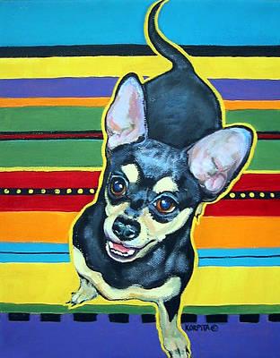 Black And Tan Chihuahua - Serape Poster by Rebecca Korpita