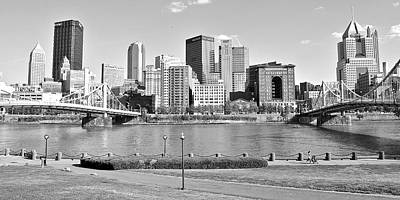 Black And White Over The Allegheny Poster by Frozen in Time Fine Art Photography