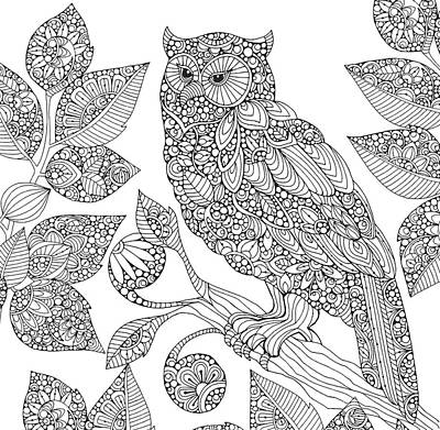 Black And White Owl Poster by Valentina Harper